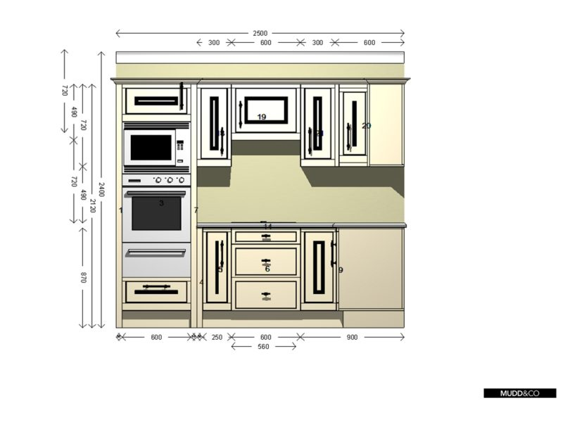 Elevation of a small kitchen planned to be installed in a log cabin. Handmade by Mudd & Co