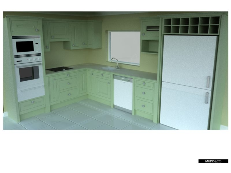 Render of a small kitchen planned to be installed in a log cabin. Handmade by Mudd & Co