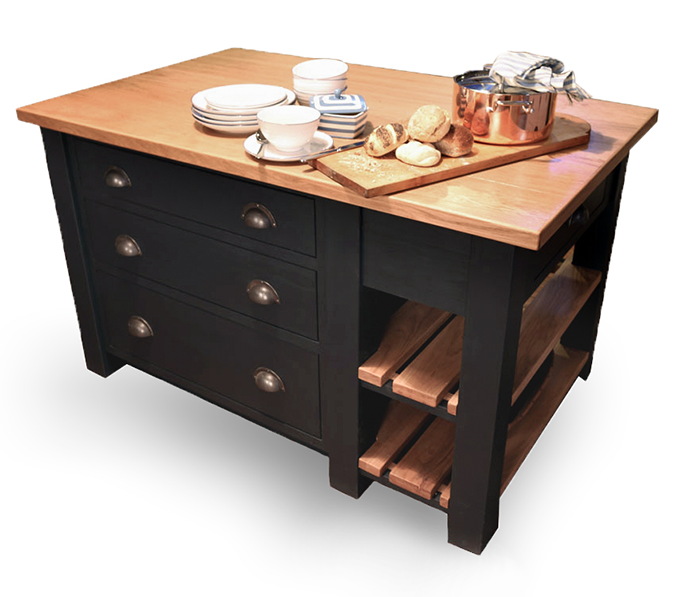 Freestanding oak kitchen islands with pan drawers mudd co for Kitchen island with drawers and seating