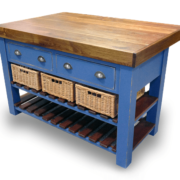 Walnut top butcher's block with basket drawers