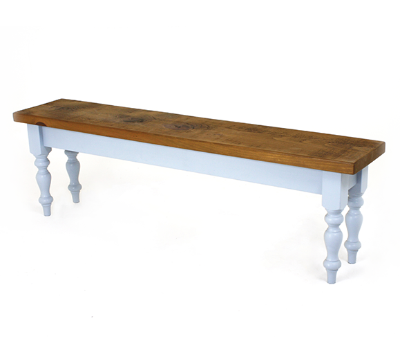 Farmhouse leg bench with pine top