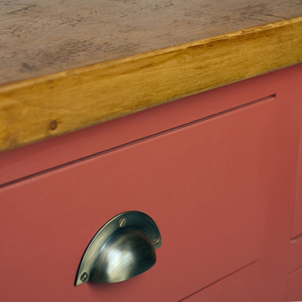 Dog Kennel Dresser with closed top - brass cup handle