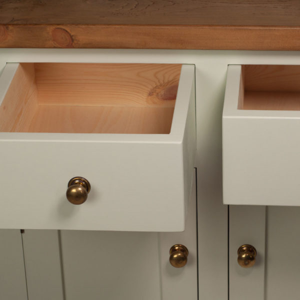 Welsh Triple Dresser with open top with brass handles