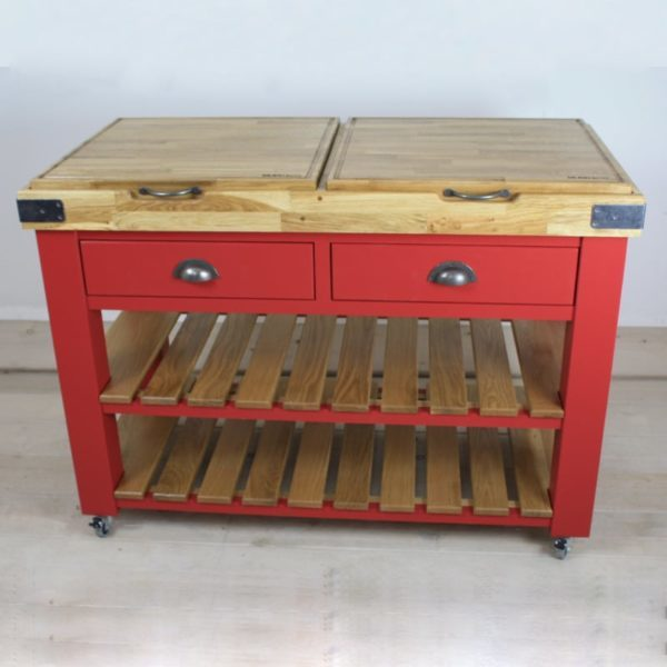 Red butchers block front view