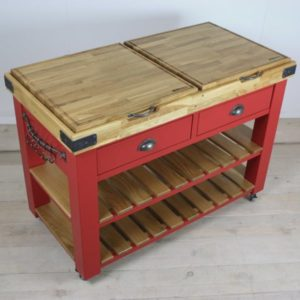 Red butchers block top view