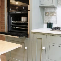Beautiful, bespoke kitchen, designed for a quaint log cabin situated in the Staffordshire countryside. Handcrafted by the artisan team at Mudd & Co using traditional techniques