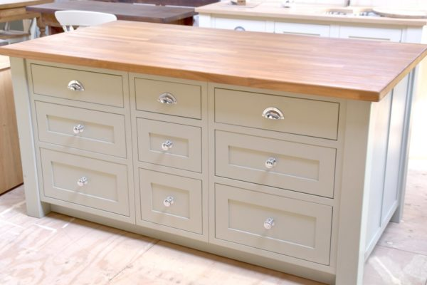 Island Iroko Top in the Mudd & Co factory sale 2020. Handcrafted kitchen and home furniture