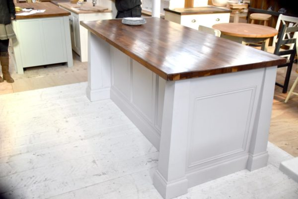 Large Walnut Top Island in the Mudd & Co factory sale 2020. Handcrafted kitchen and home furniture