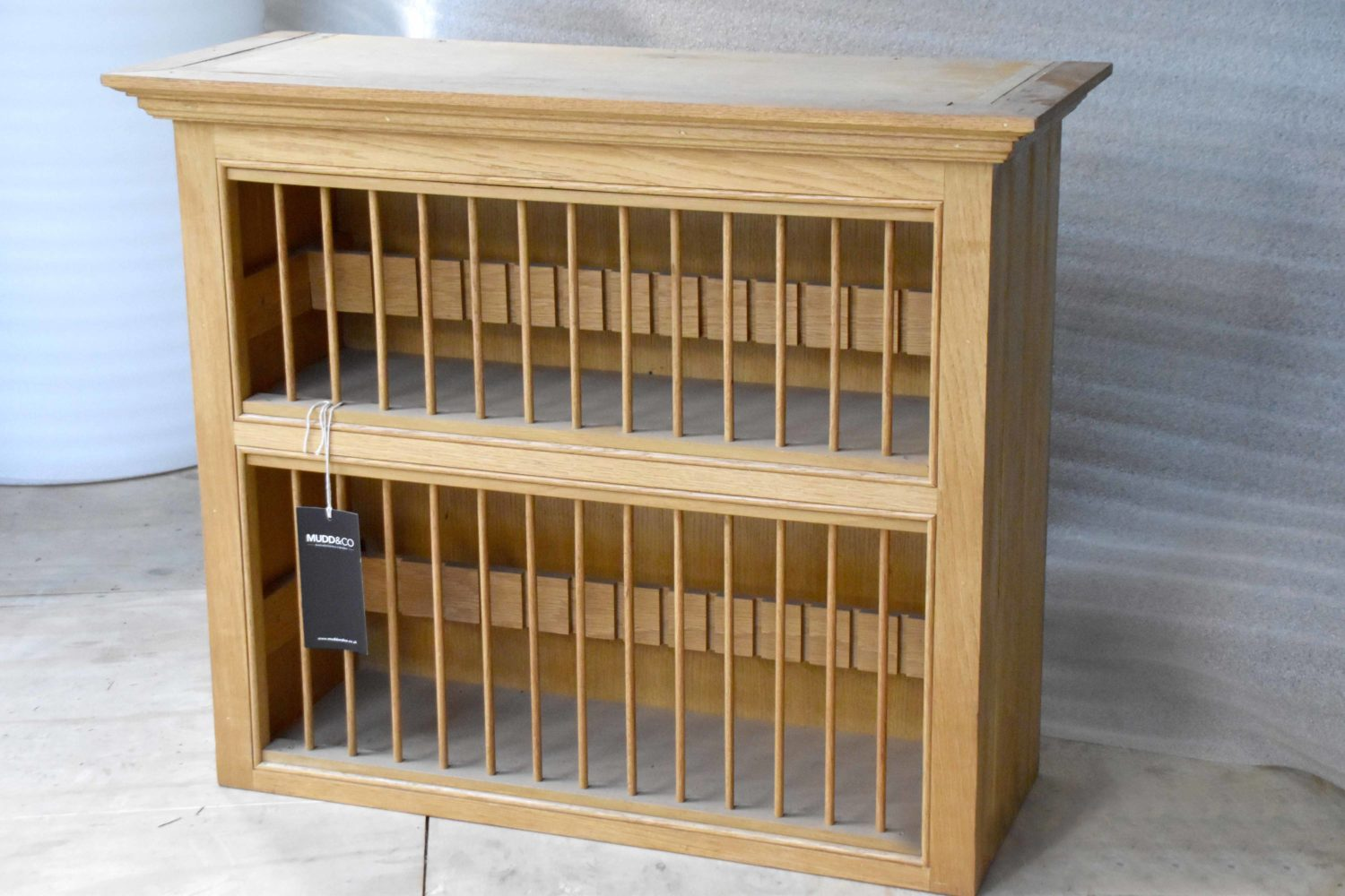 Oak Plate Rack in the Mudd & Co factory sale 2020. Handcrafted kitchen and home furniture