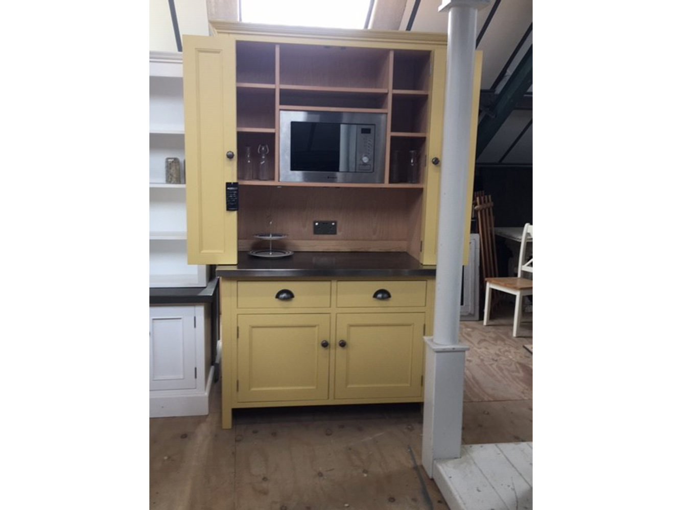 Bi-Fold Larder Cupboard in the Mudd & Co factory sale 2020. Handcrafted kitchen and home furniture