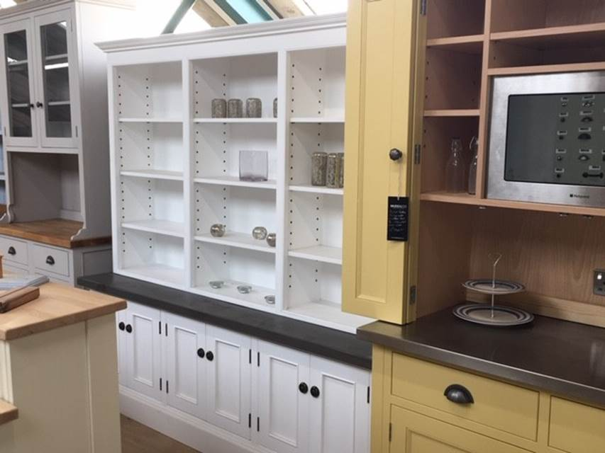 White Triple Bookcase in the Mudd & Co factory sale 2020. Handcrafted kitchen and home furniture